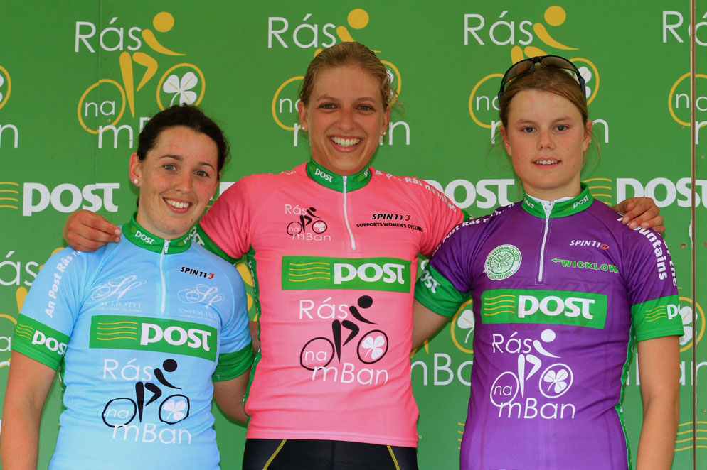2012 Rás na mBan Stage 1 race leader Femke Van Kessel flanked by County Jersey leader Fiona Meade and Amalie Diderickson