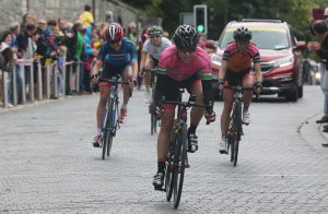 Denmark's Rikke Lonne of Team Crescent Dare crosses the line in Kilkenny to win the 2016 An Post Rás na mBan